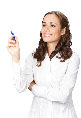 glassboard: Happy smiling cheerful beautiful young business woman writing or drawing on screen with blue marker, isolated over white background