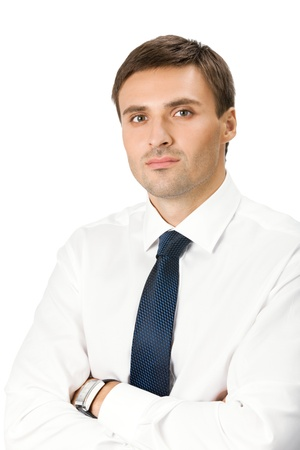 seriously: Portrait of young serious business man, isolated over white background