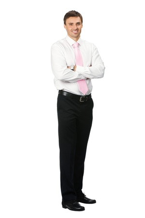 Full body portrait of happy smiling young business man, isolated on white background photo