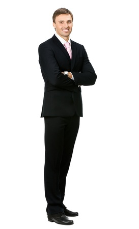 Full body portrait of happy smiling young business man, isolated on white background Stock Photo