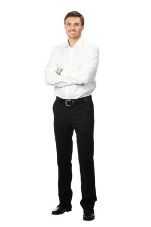 cuerpo entero: Retrato de cuerpo entero de feliz hombre de negocios sonriente joven, aislado en el fondo blanco Foto de archivo