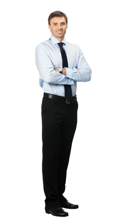 Full body portrait of happy smiling young business man, isolated on white background Stock Photo - 10850531