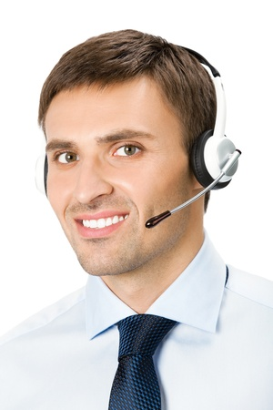 Portrait of happy smiling customer support phone operator in headset, isolated over white background photo