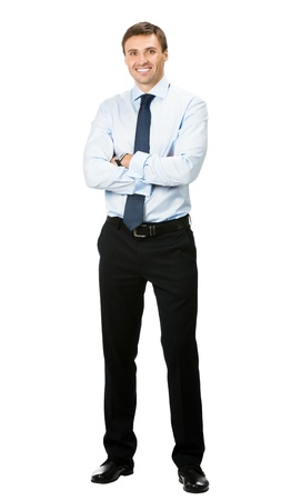 full lenght: Full body portrait of happy smiling young business man, isolated on white background Stock Photo