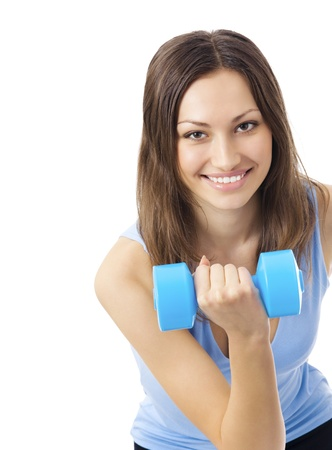 Portrait of young happy smiling woman in sportswear, doing fitness exercise with dumbbell, isolated over white background photo