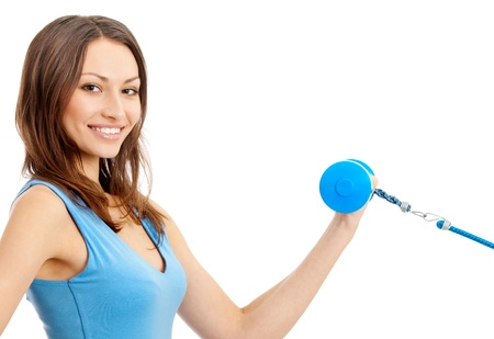 expander: Portrait of woman dowing fitness exercise with dumbbell and expander, isolated over white background Stock Photo