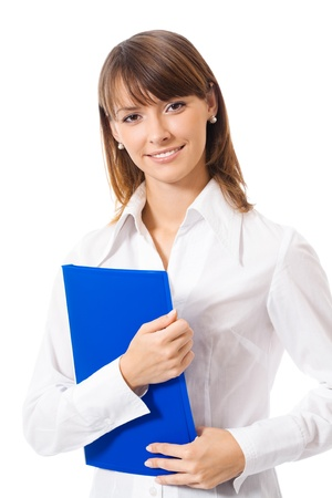 Portrait of happy smiling business woman with blue folder, isolated over white background
