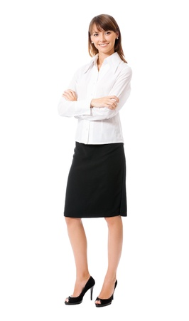 Full body portrait of happy smiling business woman, isolated on white background photo