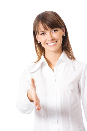 welcome smile: Happy smiling young beautiful business woman giving hand for handshake, isolated over white background