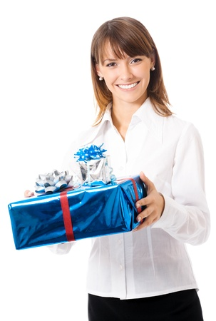 Young happy smiling business woman with gift, isolated over white background
