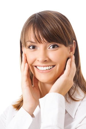 Portrait of young happy smiling surprised business woman, isolated over white background Stock Photo - 10850572