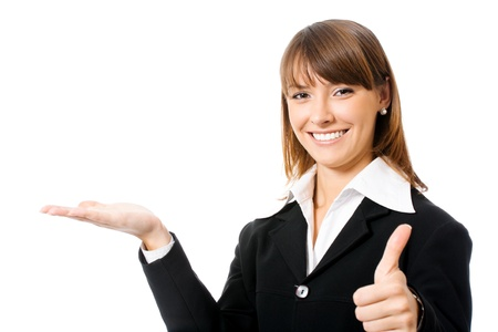 thumbs up sign: Happy smiling young beautiful business woman showing blank area for sign or copyspase, isolated over white background