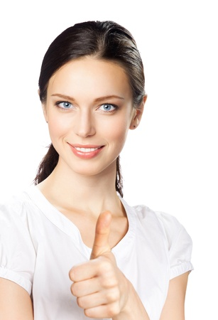 Happy smiling young beautiful business woman showing thumbs up gesture, isolated over white background Stock Photo - 10914848