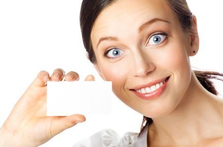 Portrait of smiling business woman giving blank business card, isolated over white background Stock Photo - 10914862