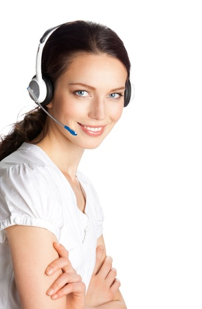 Portrait of happy smiling cheerful beautiful young support phone operator in headset, isolated over white background Stock Photo - 10914849