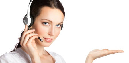 Portrait of happy smiling cheerful customer support phone operator in headset showing something, isolated over white background Stock Photo - 10914872