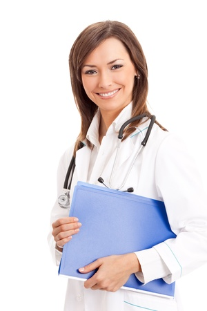 Portrait of happy smiling young female doctor with folder, isolated over white background Stock Photo - 10993739