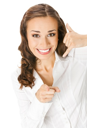 Young happy smiling business woman making call me gesture, isolated on white background Stock Photo - 10993720