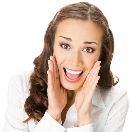whisper: Portrait of young happy smiling surprised business woman, isolated on white background