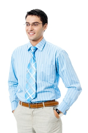 Portrait of happy smiling businessman, isolated over white background photo