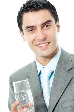 Portrait of happy smiling young business man with glass of water, isolated on white background photo