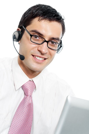 Portrait of happy smiling cheerful support phone operator in headset, isolated over white background photo