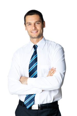 white background: Portrait of happy smiling businessman, isolated on white background