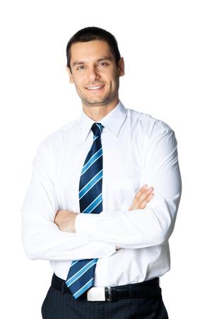 fondo blanco: Retrato de hombre de negocios sonriente feliz, aislado en fondo blanco