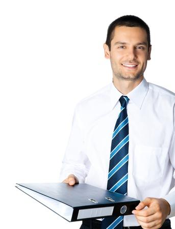 Portret van gelukkig lachende zakenman met zwarte map, op witte achtergrond