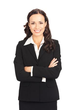 幸せな笑みを浮かべて女性実業家、白い背景で隔離の肖像画