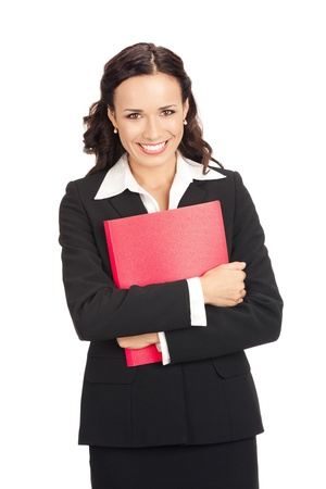 Portrait of young happy smiling business woman with red folder, isolated on white background Stock Photo - 11140280