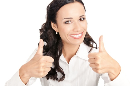 Happy smiling business woman showing thumbs up gesture, isolated on white background photo