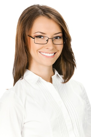 Portrait of happy smiling young business woman in glasses, isolated over white background photo
