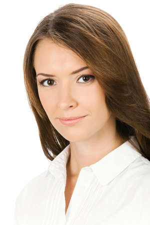 Portrait of young serious business woman, isolated over white background photo