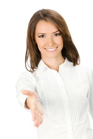 Happy smiling young beautiful business woman giving hand for handshake, isolated over white background Stock Photo - 11292225