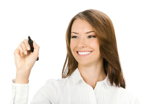 escribiendo: Feliz sonriente alegre hermosa mujer de negocios peque�os para escribir o dibujar algo en la pantalla con un rotulador negro, aisladas sobre fondo blanco