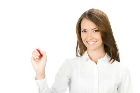 blank area: Happy smiling cheerful young business woman writing or drawing something on screen with red marker, isolated on white background Stock Photo