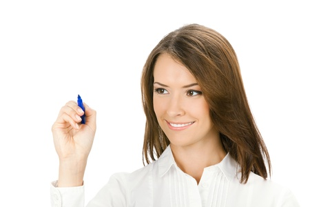 glassboard: Happy smiling cheerful beautiful young business woman writing or drawing something on screen with blue marker, isolated over white background Stock Photo