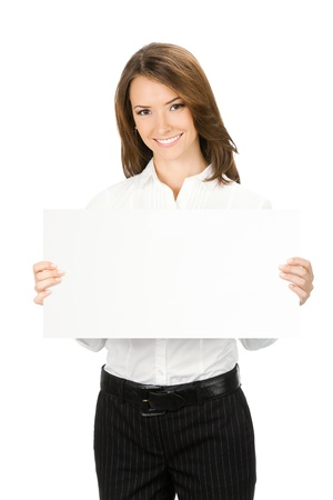 blank area: Happy smiling beautiful young business woman showing blank signboard, isolated over white background