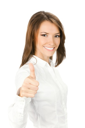 Happy smiling young beautiful business woman showing thumbs up gesture, isolated over white background photo