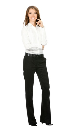 Full body of happy smiling thinking or planning young business woman, isolated over white background photo