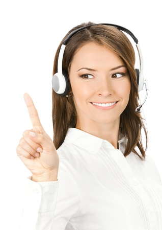 Portrait of happy smiling cheerful customer support phone operator in headset showing something, isolated over white background Stock Photo - 11292224