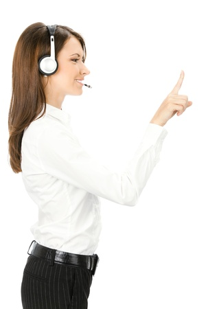 Portrait of happy smiling cheerful customer support phone operator in headset showing something, isolated over white background Stock Photo - 11292239