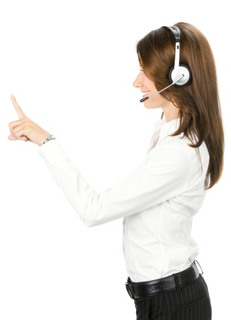 Portrait of happy smiling cheerful customer support phone operator in headset showing something, isolated over white background Stock Photo - 11292234