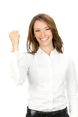 Happy gesturing young cheerful smiling business woman , isolated over white background photo