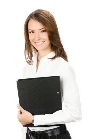 profesores: Retrato de mujer feliz de negocios sonriente con carpeta de negro, aisladas sobre fondo blanco