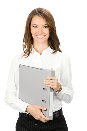 Portrait of happy smiling business woman with grey folder, isolated over white background photo