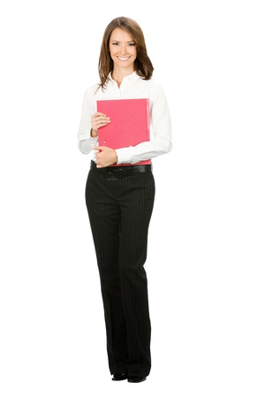 Full body portrait of happy smiling business woman with red folder, isolated over white background photo