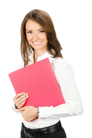 Portrait of happy smiling business woman with red folder, isolated over white background photo