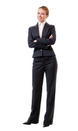 cuerpo entero: Retrato de cuerpo completo de la feliz y sonriente joven mujer de negocios alegre, aisladas sobre fondo blanco